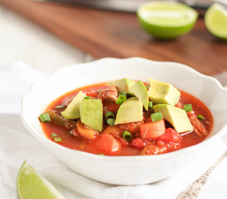Pulled Pork Tortilla-less Soup {Slow Cooker Recipe}