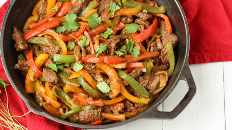 Healthy Steak Fajitas with Peppers & Onions